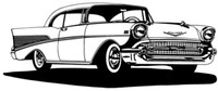"""1957 Chevy Hard Top BBC Decal, This is a large 12"""" Window Sticker"""