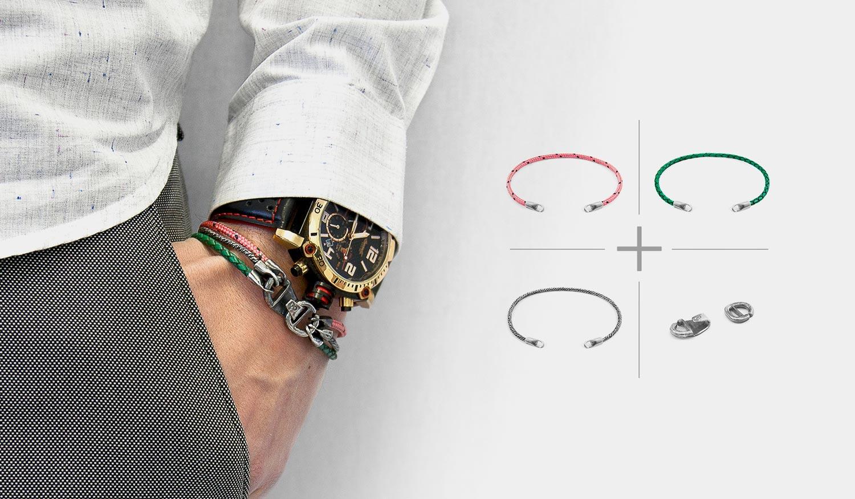 Nuevo-Concepto: Diseña tu Propio Pulsera de Cuerda / Cuero / Plata / Oro