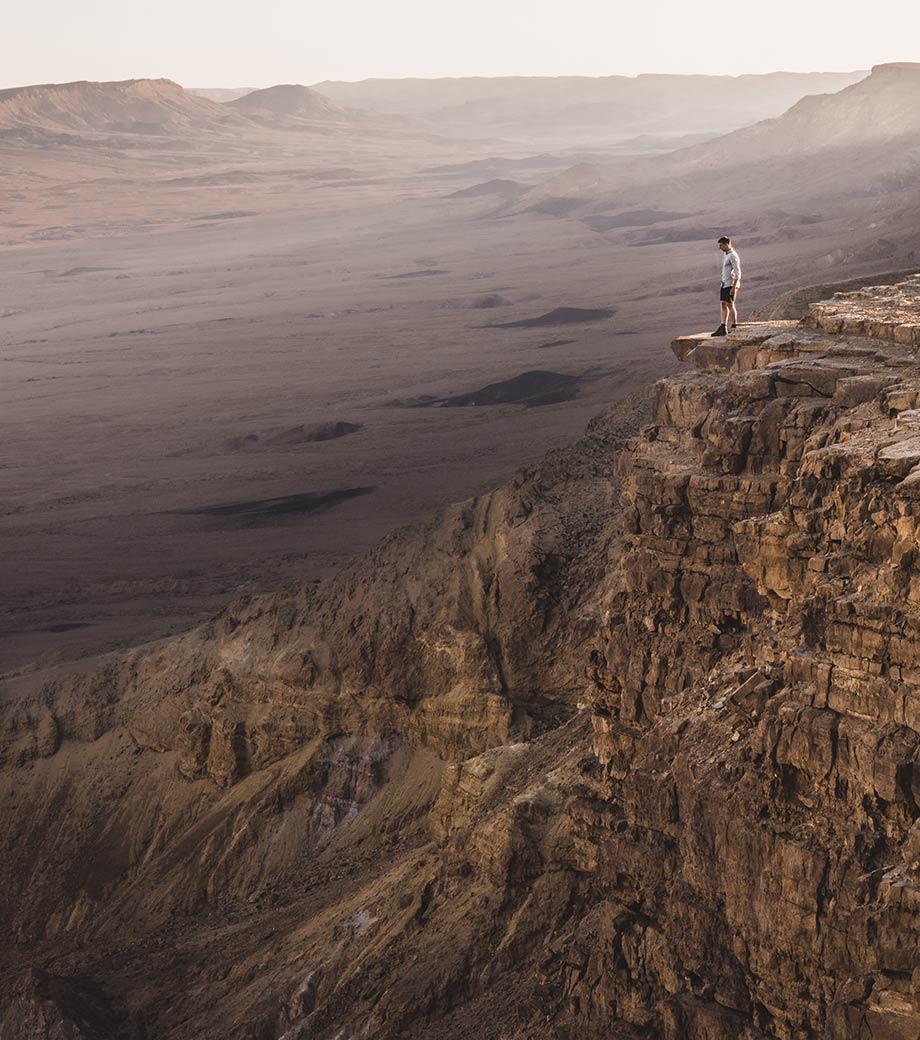 Standing At Machtesch Ramon Crater