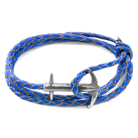 Anchor & Crew Royal Blue Admiral Anchor Silver and Braided Leather Bracelet
