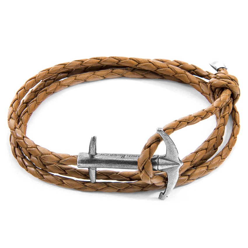 Anchor & Crew Light Brown Admiral Anchor Silver and Braided Leather Bracelet