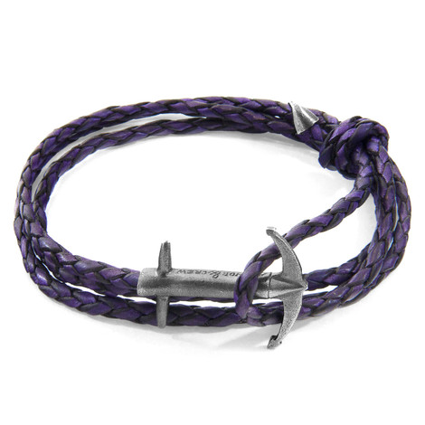 Anchor & Crew Grape Purple Admiral Anchor Silver and Braided Leather Bracelet