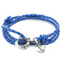 Anchor & Crew Royal Blue Clyde Anchor Silver and Braided Leather Bracelet