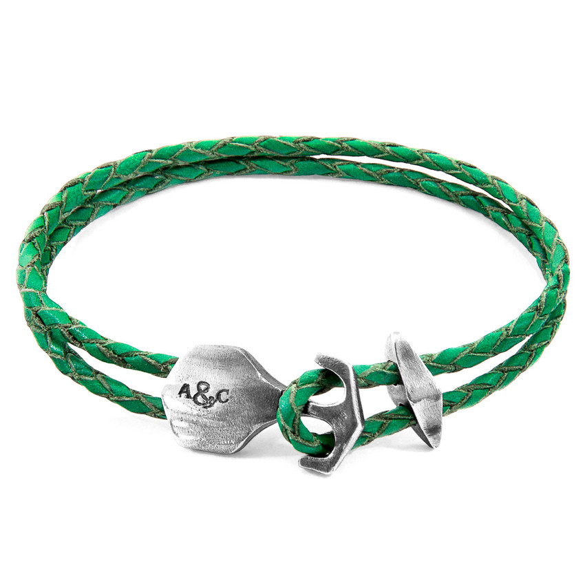 Anchor & Crew Fern Green Delta Anchor Silver and Braided Leather Bracelet