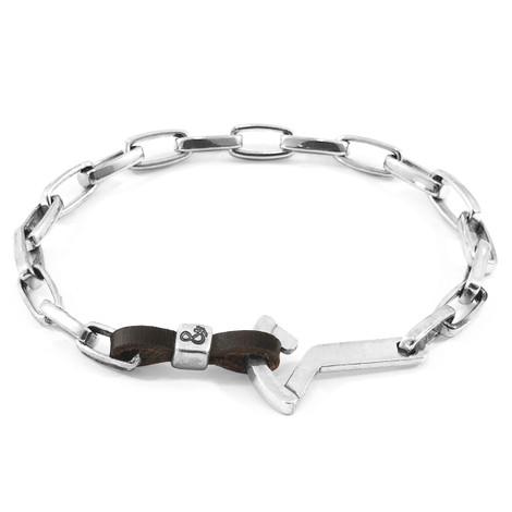 Anchor & Crew Dark Brown Frigate Silver and Flat Leather Bracelet