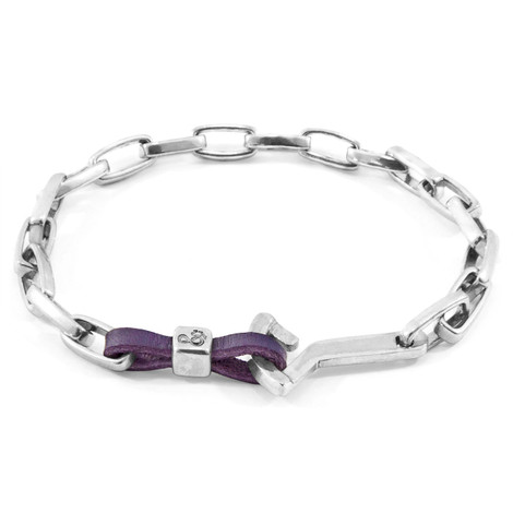 Anchor & Crew Grape Purple Frigate Silver and Flat Leather Bracelet
