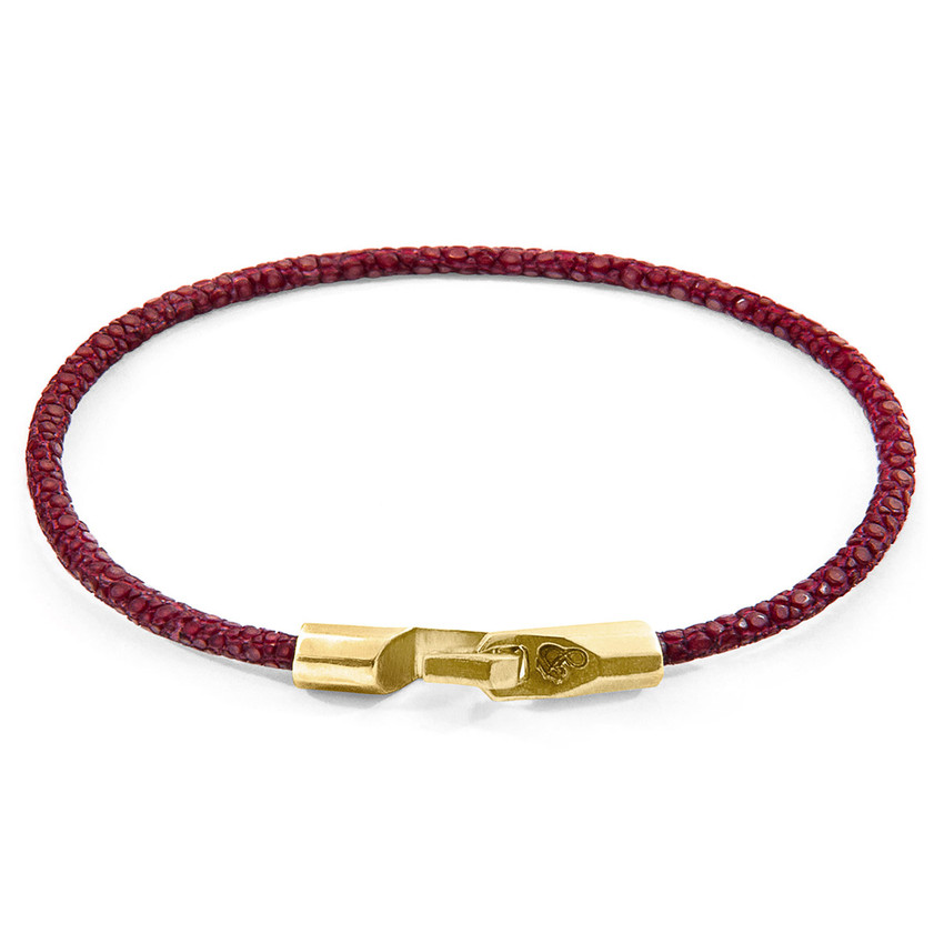 Anchor & Crew Bordeaux Red Talbot 9ct Yellow Gold and Stingray Leather Bracelet