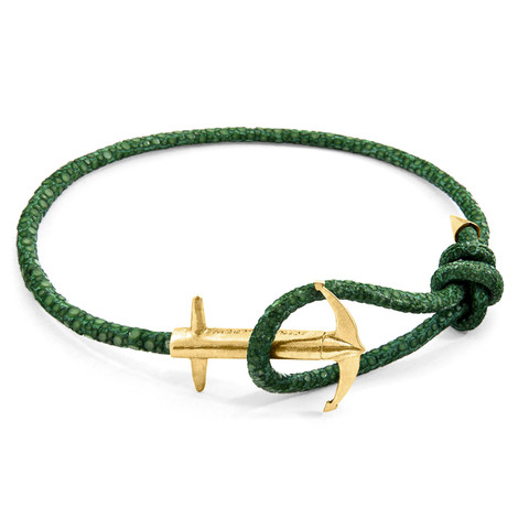 Anchor & Crew Racing Green Admiral Anchor 9ct Yellow Gold and Stingray Leather Bracelet