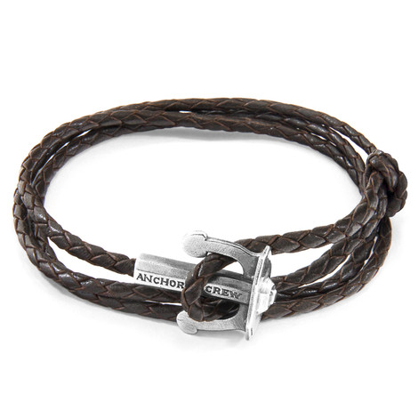 Anchor & Crew Dark Brown Union Anchor Silver and Braided Leather Bracelet