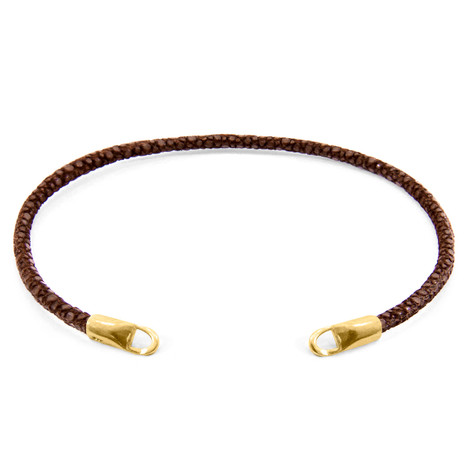 Anchor & Crew Mocha Brown CUSTOM Bracelet Stingray Leather and 9ct Yellow Gold Line