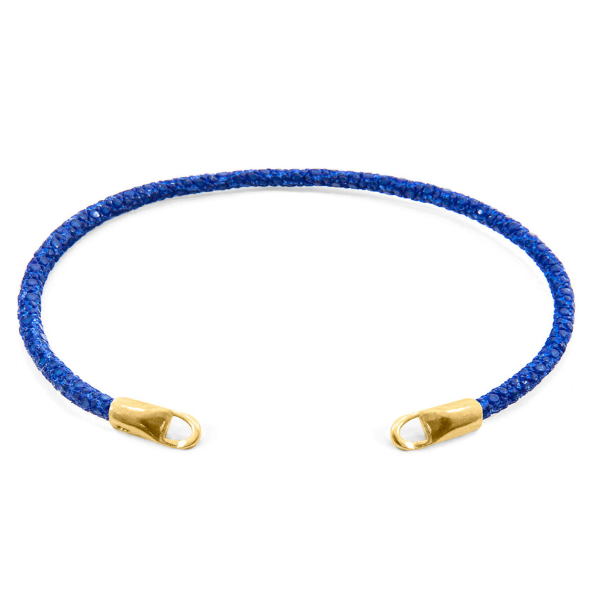 Anchor & Crew Azure Blue CUSTOM Bracelet Stingray Leather and 9ct Yellow Gold Line