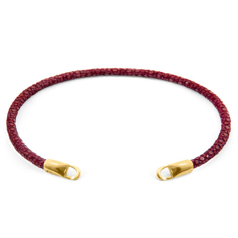 Anchor & Crew Bordeaux Red CUSTOM Bracelet Stingray Leather and 9ct Yellow Gold Line