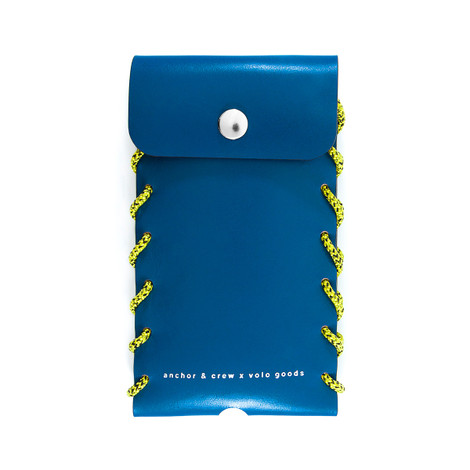 Anchor & Crew Small Traffic Blue Standen Leather and Rope Phone Case