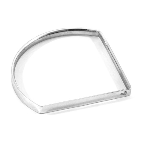Anchor & Crew Holden Quarter Circle Geometric Silver Bangle