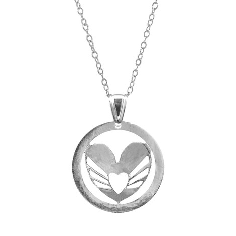 Anchor & Crew Decorated Heart Disc Paradise Silver Necklace Pendant