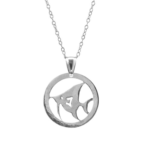 Anchor & Crew Angel Fish Disc Paradise Silver Necklace Pendant
