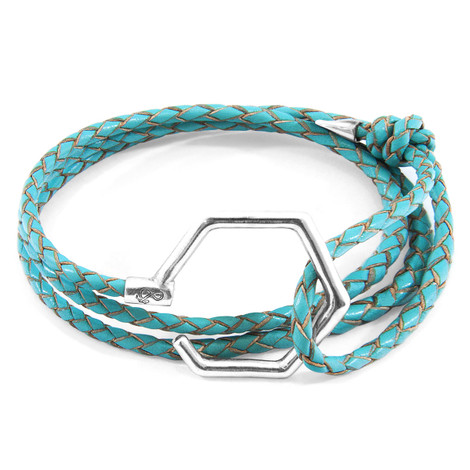 Anchor & Crew Turquoise Blue Storey Silver and Braided Leather Bracelet