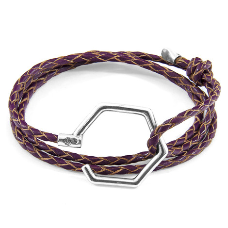 Anchor & Crew Deep Purple Storey Silver and Braided Leather Bracelet