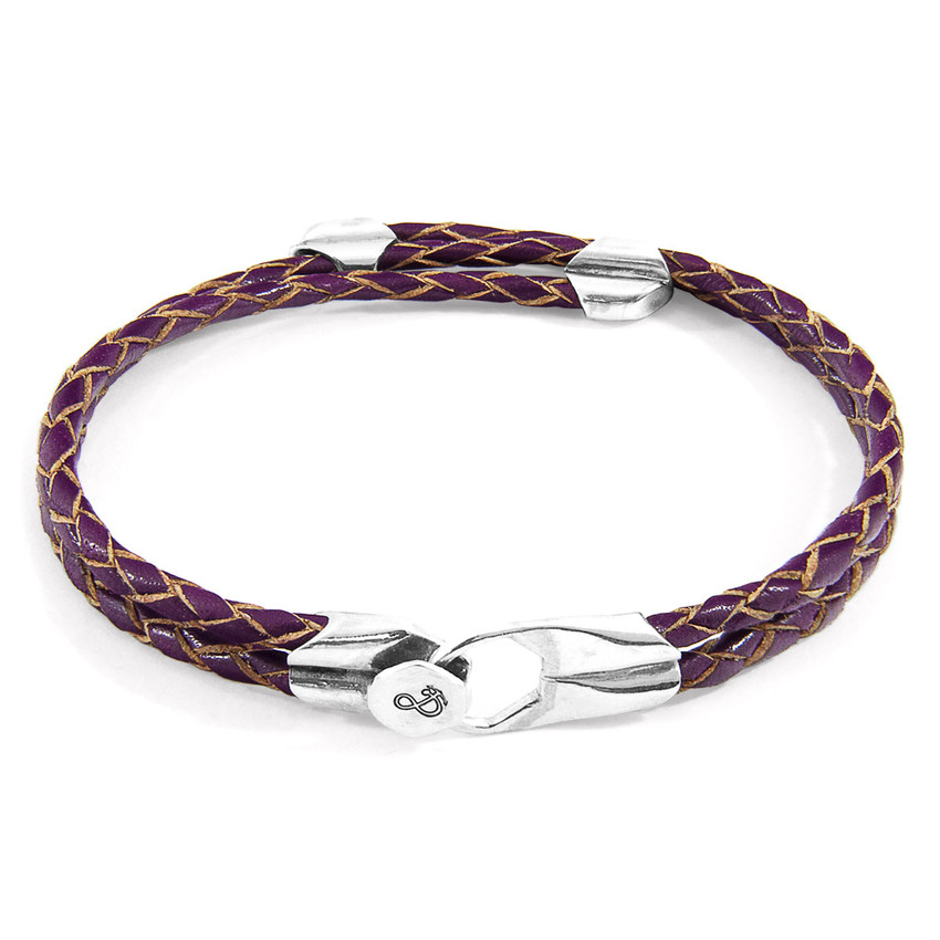 Anchor & Crew Deep Purple Conway Silver and Braided Leather Bracelet