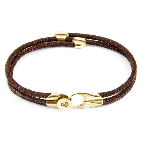 Anchor & Crew Mocha Brown Conway 9ct Yellow Gold and Stingray Leather Bracelet
