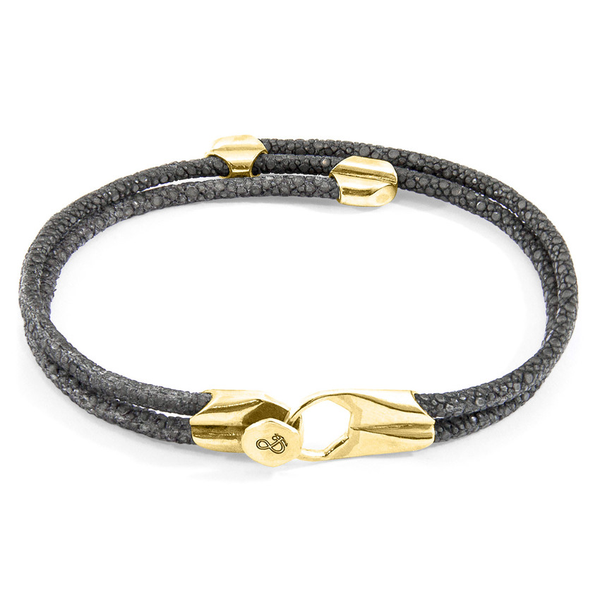 Anchor & Crew Shadow Grey Conway 9ct Yellow Gold and Stingray Leather Bracelet