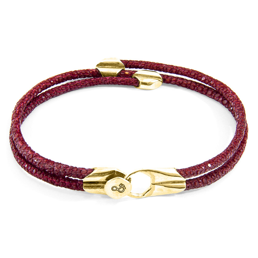 Anchor & Crew Bordeaux Red Conway 9ct Yellow Gold and Stingray Leather Bracelet