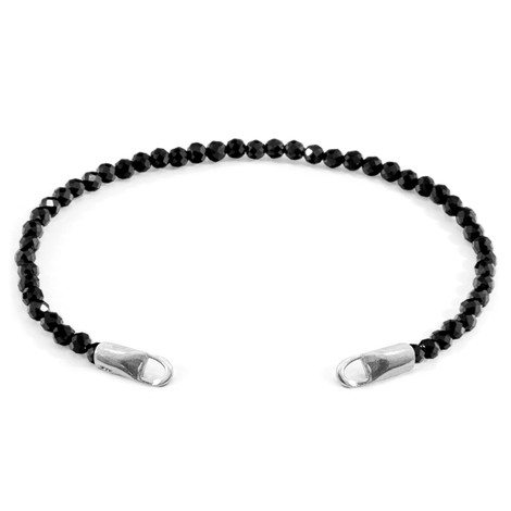 Anchor & Crew Black Spinel CUSTOM Bracelet Stone and Silver Line