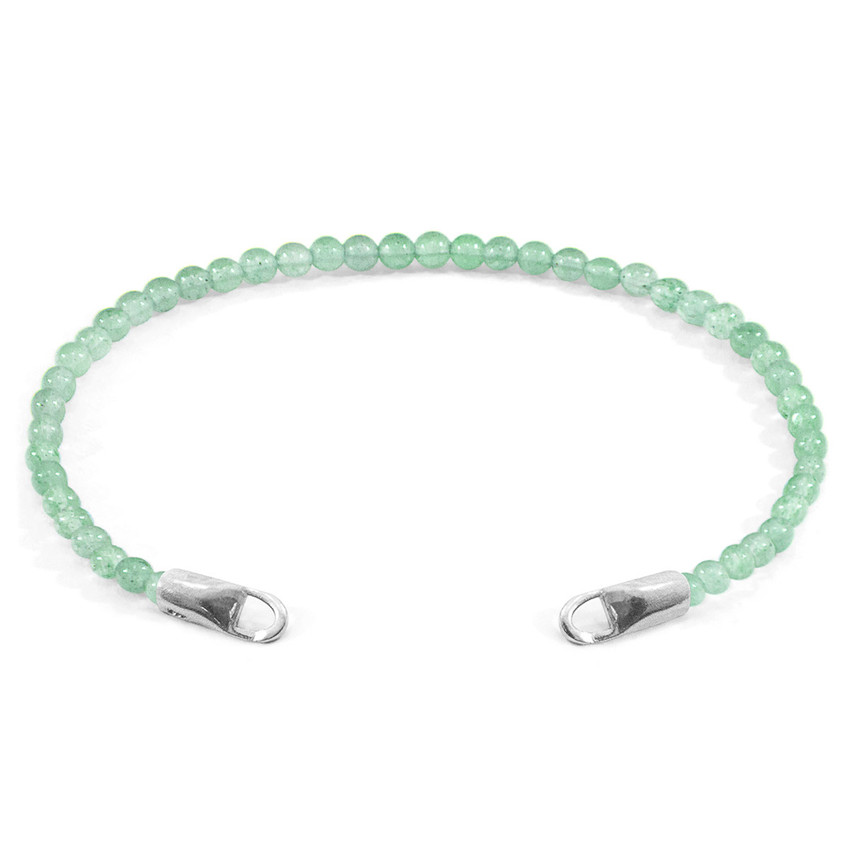 Anchor & Crew Green Aventurine CUSTOM Bracelet Stone and Silver Line