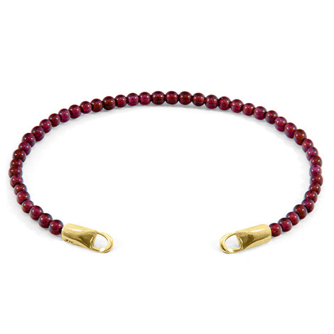 Anchor & Crew Red Garnet CUSTOM Bracelet Stone and 9ct Yellow Gold Line