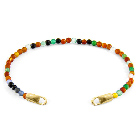 Anchor & Crew Multicoloured Agate CUSTOM Bracelet Stone and 9ct Yellow Gold Line