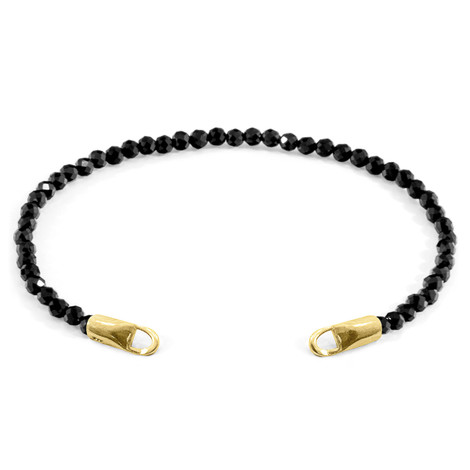 Anchor & Crew Black Spinel CUSTOM Bracelet Stone and 9ct Yellow Gold Line