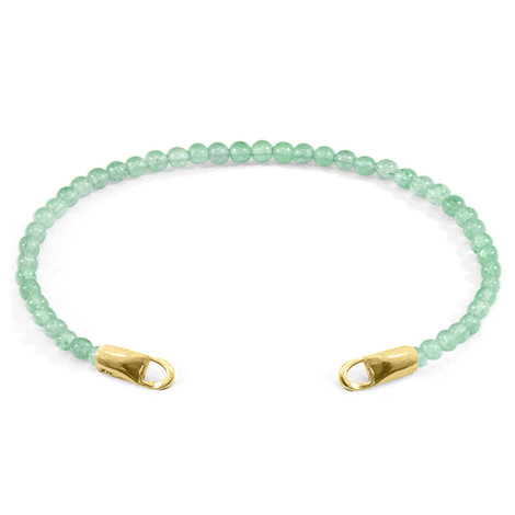 Anchor & Crew Green Aventurine CUSTOM Bracelet Stone and 9ct Yellow Gold Line