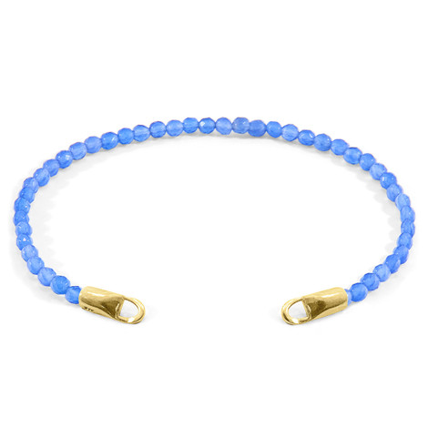 Anchor & Crew Blue Agate CUSTOM Bracelet Stone and 9ct Yellow Gold Line