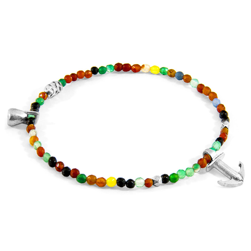 Anchor & Crew Multicoloured Agate Tropic Silver and Stone Bracelet