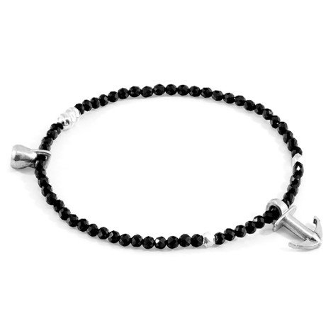Anchor & Crew Black Spinel Tropic Silver and Stone Bracelet