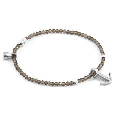 Anchor & Crew Grey Smokey Quartz Tropic Silver and Stone Bracelet