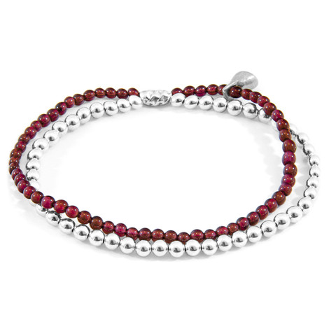 Anchor & Crew Red Garnet Harmony Silver and Stone Bracelet
