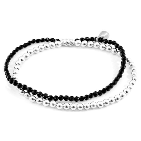 Anchor & Crew Black Spinel Harmony Silver and Stone Bracelet