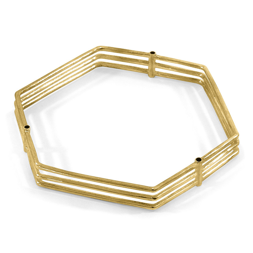 Anchor & Crew Walton Tri-Rail Maxi Geometric 9ct Yellow Gold Bangle