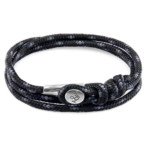 Anchor & Crew Black Dundee Silver and Rope Bracelet