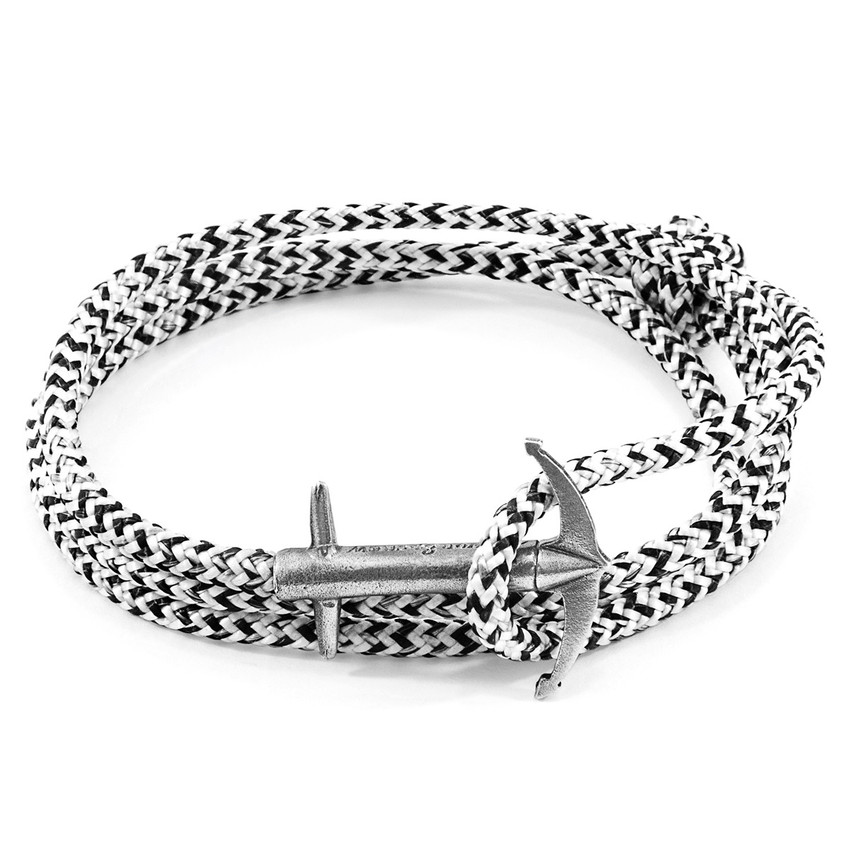 Anchor & Crew White Noir Admiral Silver and Rope Bracelet