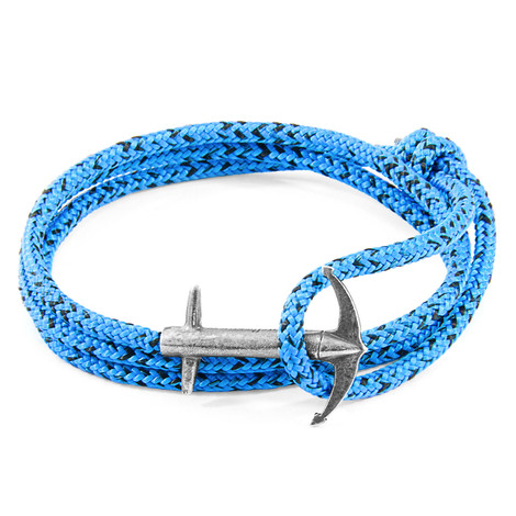 Anchor & Crew Blue Noir Admiral Silver and Rope Bracelet