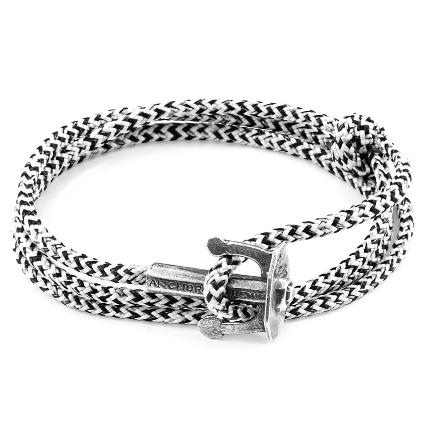 Anchor & Crew White Noir Union Silver and Rope Bracelet