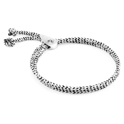 Anchor & Crew White Noir Pembroke Silver and Rope Bracelet