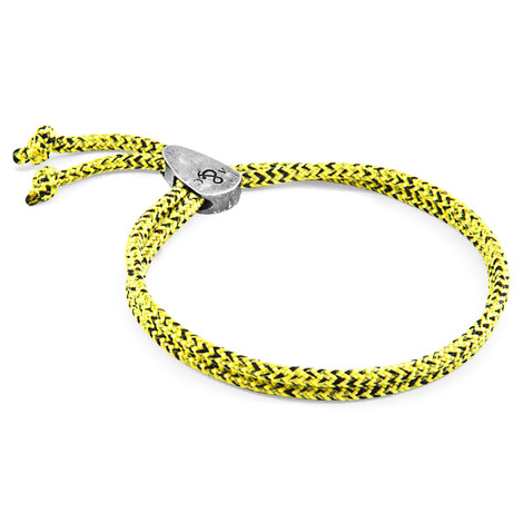 Anchor & Crew Yellow Noir Pembroke Silver and Rope Bracelet