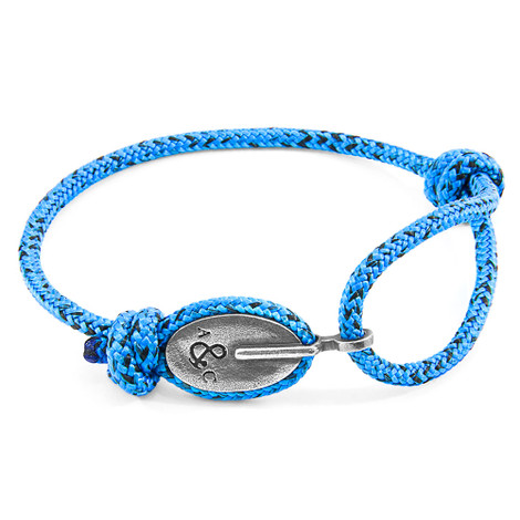 Anchor & Crew Blue Noir London Silver and Rope Bracelet