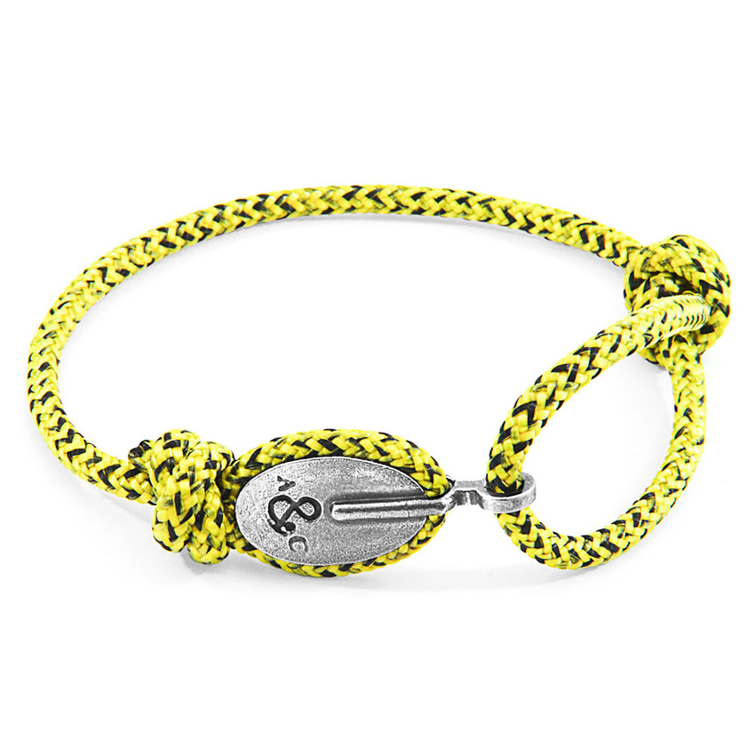 Anchor & Crew Yellow Noir London Silver and Rope Bracelet
