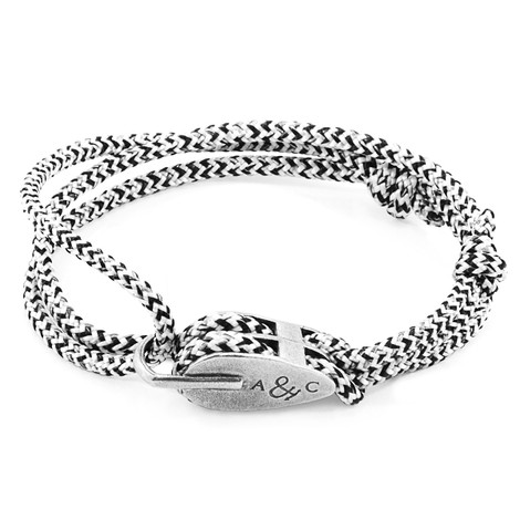 Anchor & Crew White Noir Tyne Silver and Rope Bracelet