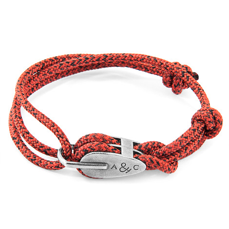 Anchor & Crew Red Noir Tyne Silver and Rope Bracelet