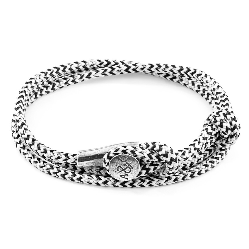 Anchor & Crew White Noir Dundee Silver and Rope Bracelet